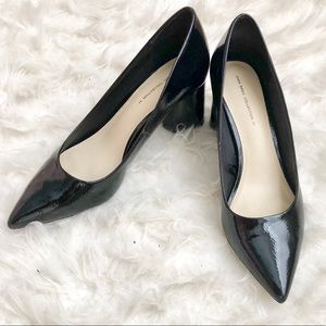 Zara Shiny Black Pointed Toe Block Heels